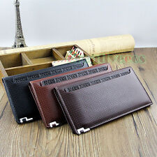 Business Men's Plaids Long Wallet Pocket Holder Card Clutch Cente Bifold Purse