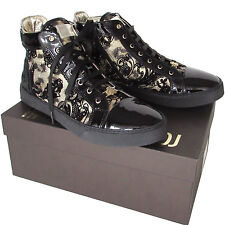 ROBERTO CAVALLI womens black leather & brocade sneakers shoes Made in Italy $247
