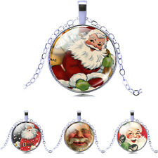 Merry Christmas Santa Claus Picture Glass Cabochon Pendant Necklace Womens RO