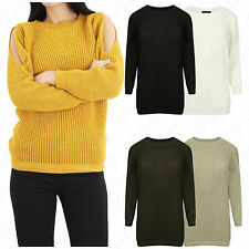 Womens Cut Cold Shouder Ladies Baggy Fit Lurex Knitted Shiny Jumper Sweater Top