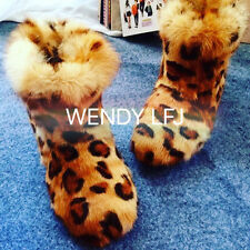 Fashion Women Winter Boots Genuin Fur Leopard Print Boots Height Increased Boots