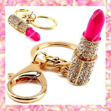 Rhinestone Crystal Pink Lipstick Handbag Purse Charms Keychains Accessories lot
