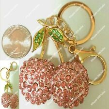Rhinestone Crystal Pink Cherry Handbag Purse Charms Keychains Accessories lot