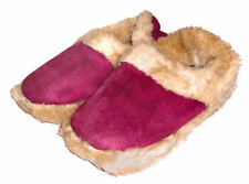 Ladies Coolers Fuchsia Pink Fluffy Ankle Slippers - Fluffy Warm Lining