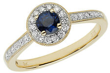 Sapphire & 0.25ctw Diamond Cluster Ring Yellow Gold British Made Size J-Q