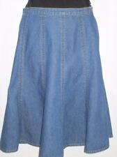 Skirt Blue Denim Long Flared Size 10 Free Shipping to US