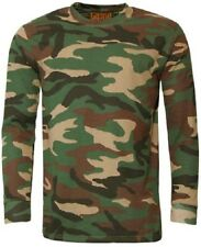 Woodlands Camouflage Camo LONG SLEEVE T Shirt Reinforced Neck Crew neck
