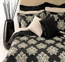 Canterbury VICTORIA Black Silver Jacquard Quilt Doona Cover Set - QUEEN, KING