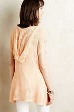 ANTHROPOLOGIE Moth Hooded Pointelle Pullover Linen Sweater NwT S M L