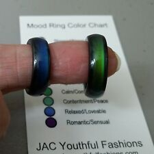Magnetic Hematite Mood Ring Size 6 7 8 9 with Mood Chart