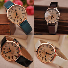 NEW  Women's Watches Leather Band Stainless Steel Analog Quartz Wrist Watch HS
