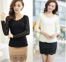 Lace O-neck Ladies Top Stretch  T-Shirt Fashion Blouse Women Casual Long Sleeve