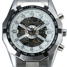 Stainless Steel Mens Watch Sewor Skeleton Mechanical Automatic Fashion gents 740