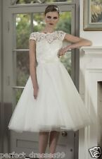 New Knee Length Short White/Ivory Lace Bridal Gowns Wedding Dress Stock Size6-18
