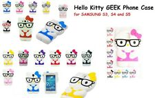 Hello Kitty GEEK 3D Cartoon Case Cover For SAMSUNG S3 S4 & S5 Android Androids