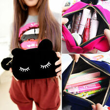Cartoon Cat Coin Storage Case Travel Makeup Flannel Pouch Cosmetic Bag Sanwood