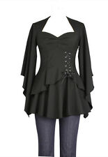 Plus Size Black Gothic Kimono Sleeve Sweetheart Side Corset Top  1X 2X 3X 4X