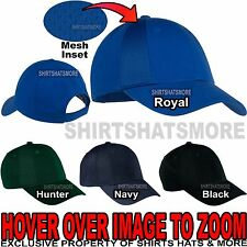 Adult BREATHABLE Mesh Insert Baseball Cap 8 Panel Mid Profile Hat NEW!
