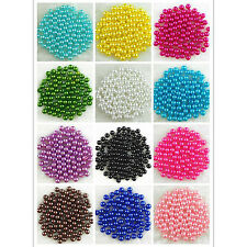 500× Acrylic 6mm Round Pearl Spacer DIY Craft Jewelry Making Loose Beads Ornate