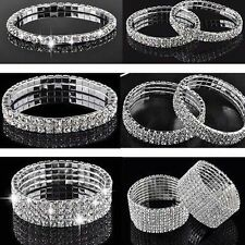 Women's Cute Crystal Rhinestone Stretch Bracelet Bangle Wedding Bridal Wristband