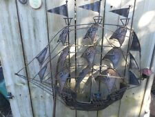 Vintage Metal Wall Sailboat Mexican Mexico Wall Decor 45 years old Collectible
