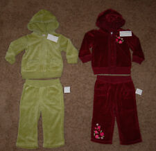 NWT Greendog Velour Ruffled Track Suit Jacket Pants Size 18M Red Wine or Green