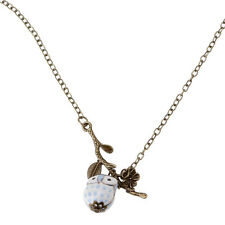 Ceramic Bronze Leaf Twig Owl Pendant Necklace Women Fashion Jewelry Party Gift