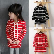 Toddler Kid Baby Girls Striped Dress Long Sleeve Princess Hooded Dresses Clothes