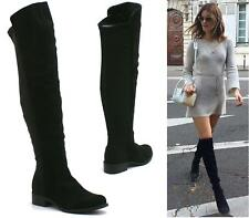 LADIES WOMENS FLAT LOW HEEL STRETCH BACK FAUX SUEDE WIDE LEG KNEE HIGH BOOTS SIZ