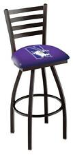 Northwestern University Swivel Bar Stool with Ladder Back