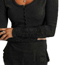 Fashion Long Sleeve Shirt Casual Lace Blouse Loose Cotton Tops T Shirt HT6R NU