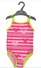 Mothercare Pink Girls Butterfly Stripe Swimsuit Age 1-2-3-4-5-6-7-8-9 Years BNWT