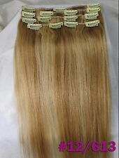 Queen Thick Virgin Clip In 100%Real Human Hair Extensions Blonde Full Head 8pcs