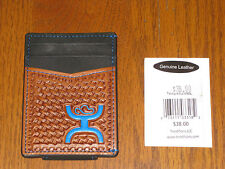Hooey Signature Basketweave Blue Logo Money Clip. Leather. NEW with tags