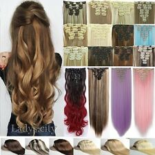 100% Natural Remy Thick 8 Pcs Full Head Clip in Hair Extensions Brown Blonde 3TG