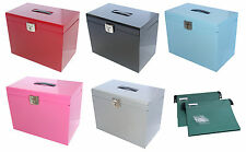 Metal File Box Home Office Filing A4 File Organiser Folder Document