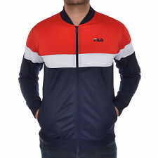 Mens New FILA Full Zip Track Top Tracksuit Jacket - Navy & Red - Retro Vintage