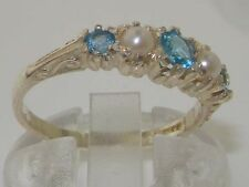 Solid 9ct White Gold Natural Blue Topaz & Pearl Vintage Style Band Ring