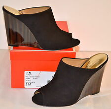 New $248 Coach Hollie Kid Suede Black Wedge Heel Peep Toe