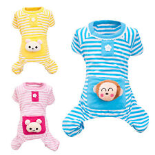 Winter Soft Small Pet Puppy Dog Stripes pajamas Coat Clothes Cotton Clothing