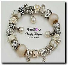"""""""Simply Elegant"""" Pearl White Authentic Pandora Sterling Silver Chain w/ Charm"""