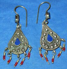 Earrings Carnelian Lapis Malachite Afghan Kuchi Tribal Alpaca Silver 1 1/2""