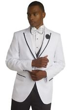 Mens White Jacket Black Pants 2 Piece Suit TUX114 EJ Samuel Tuxedo Wedding Prom
