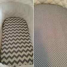Cotton Bassinet, Moses, Boori basket fitted sheet in grey, chevron, dots, spots