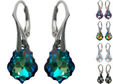 925 Sterling Silver Earrings made with Swarovski Crystals - Baroque 16mm