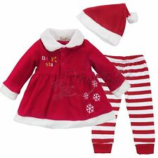 Toddler Baby Girl Christmas Claus Dress+Pant+Hat Costume Xmas Outfit Clothes