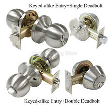 Satin Nickel Keyed Same Entry Door Knob & Single/Double Cylinder Deadbolt Lock