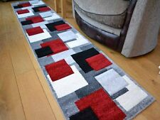 Modern Carpet Area Rug Living Room Silver Red Square Design Runner Thick Quality
