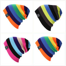 Unisex Wool Knit Knitted Winter Hat Ski Skull Cap Men Women Rainbow Hip-Hop Hats