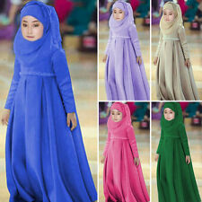 3Pcs Kids & Girls Abaya Muslim Kaftan Islamic Scarf Child Hijab Arab Maxi Dress
